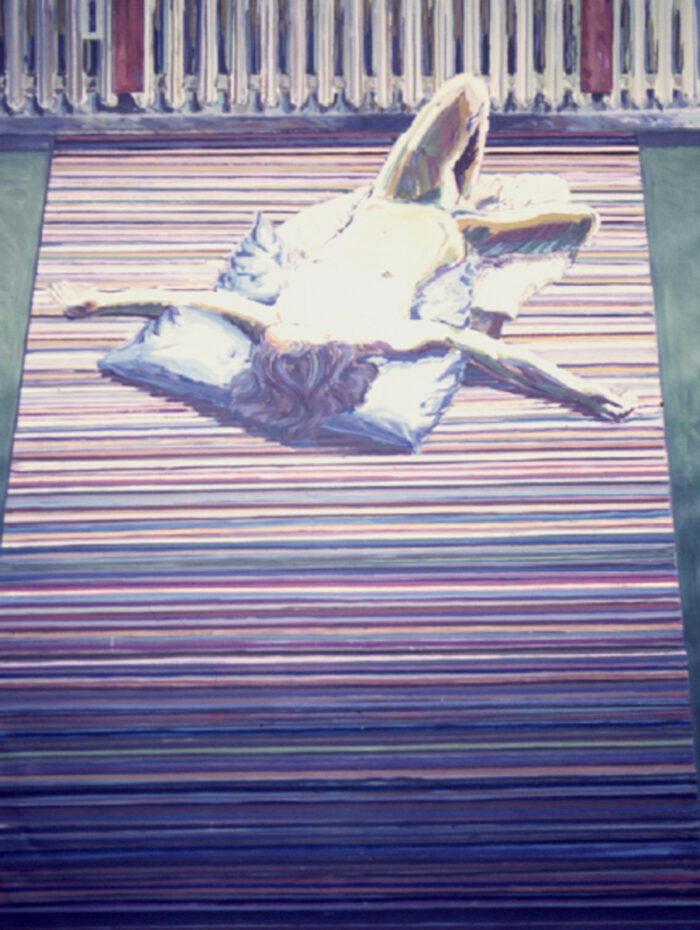 1970 01 04 Flieger mit ausgestreckten Armen Öl auf Leinwand 200x150 cm