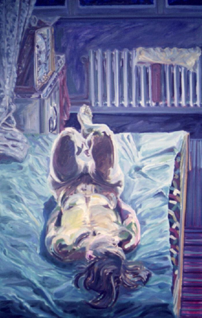 1970 01 08 Nachtstück mit Kühlschrank Öl auf Leinwand 150x95 cm