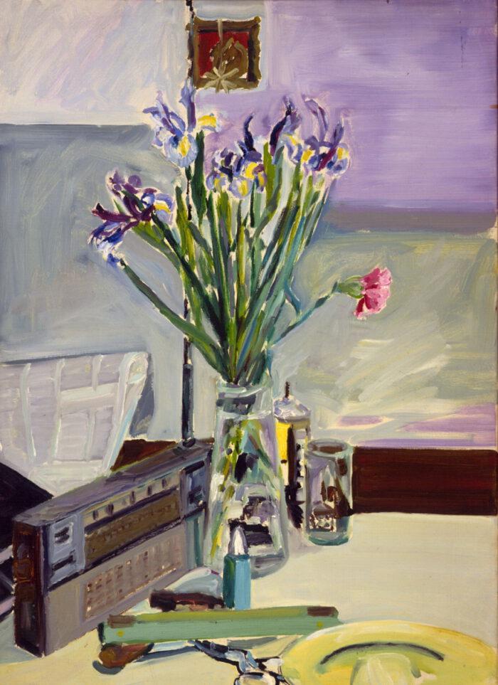1970 03 03 Blumen Radio Öl auf Leinwand 70x50 cm