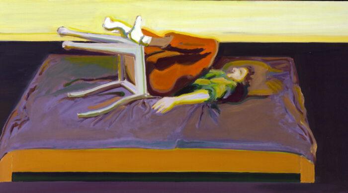 1970 05 01 Frau Stuhl auf Bett Öl auf Leinwand 90x165 cm