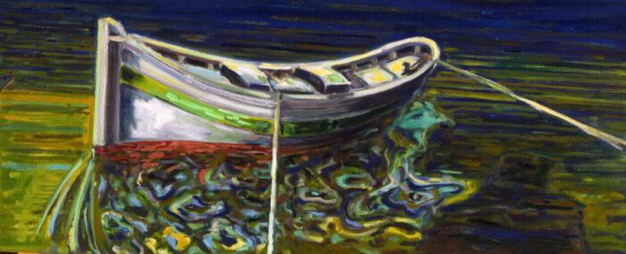 1970 06 01 Boot Denia Spanien Öl auf Pressspan 74x114 cm