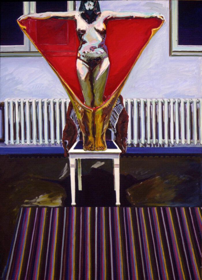 1971 01 01 Sakral Raum mit Flieger Öl auf Leinwand 200x150 cm