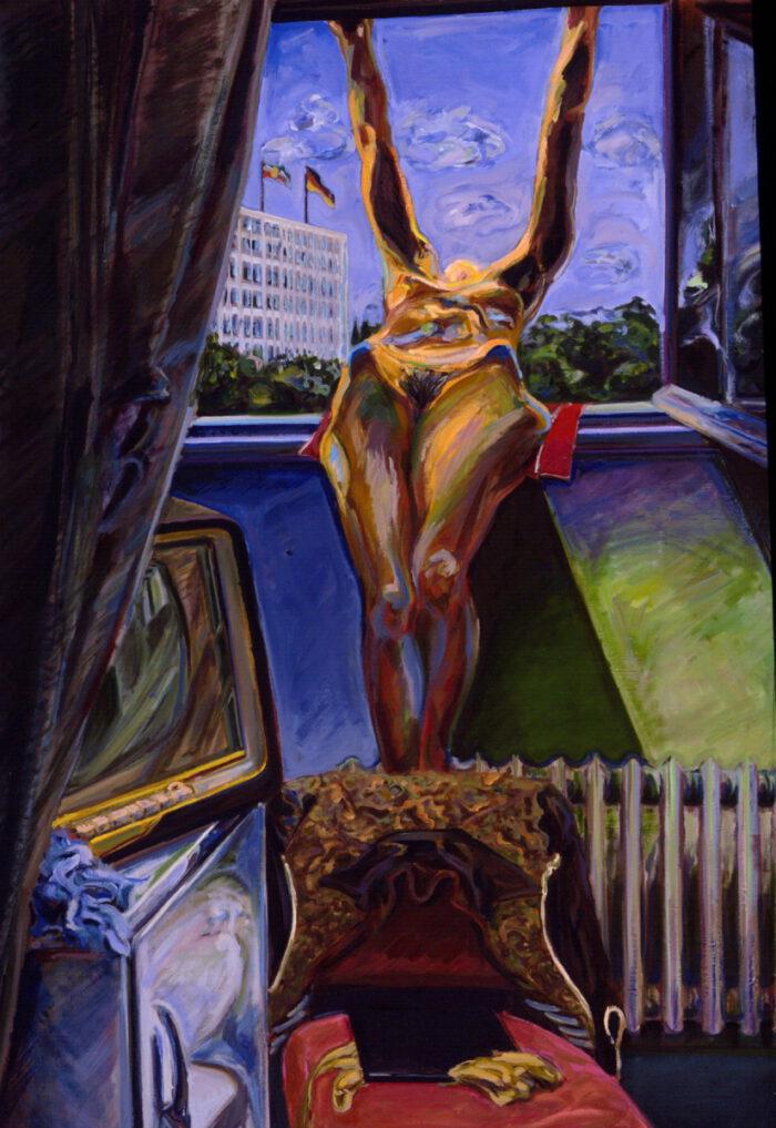 1971 02 01 Vorhang mit Fahnen Öl auf Leinwand 190x130 cm