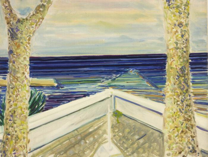 1971 08 01 o.T. Terrasse am Meer Öl Aquarell auf Leinwand 55x70 cm