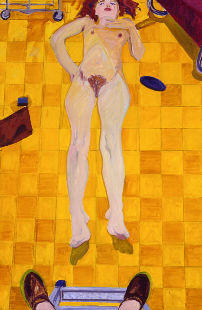 1972 01 01 Akt auf gelben Fliesen Öl auf Leinwand 140x95 cm