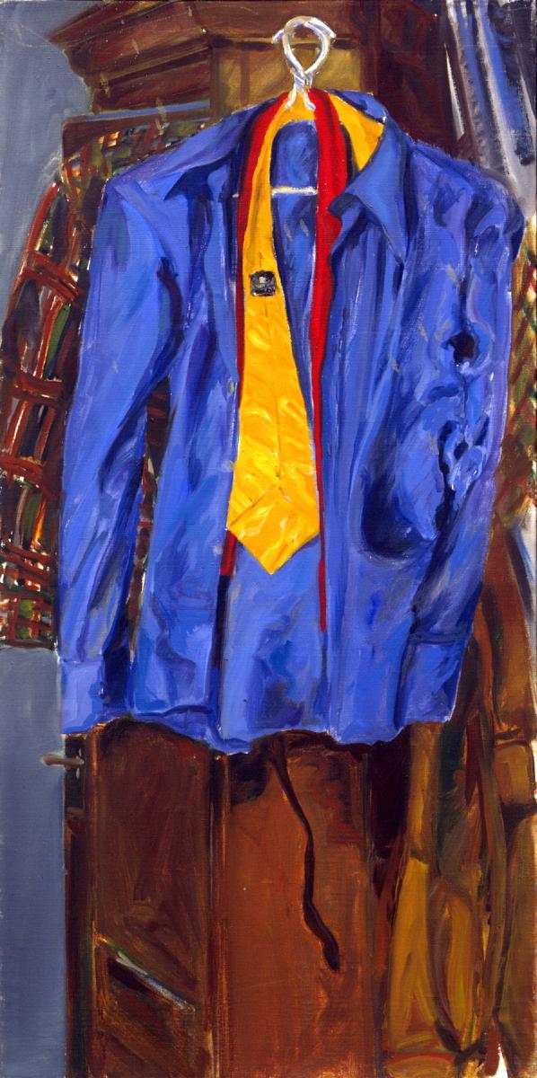 1972 06 02 Blaues Hemd Öl auf Leinwand 100x50 cm