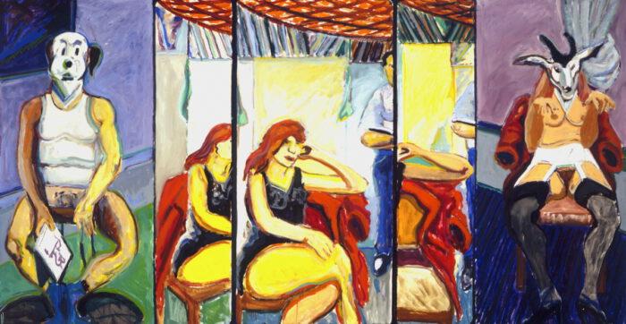 1972 08 01 Triptychon mit Masken Öl und Papier auf Leinwand 152x285 cm