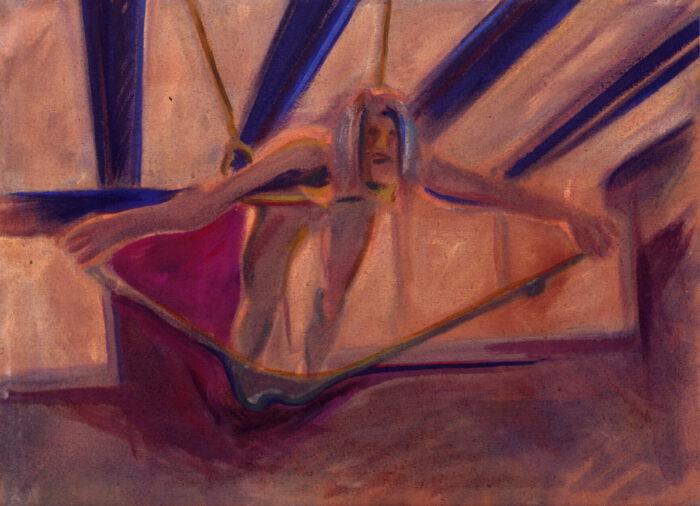 1973 02 12 in Strumpfhosen hängend Öl auf Leinwand 68x93 cm