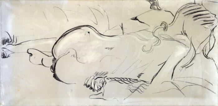 1974 01 05 Akt Sybille Kohle auf Leinwand 50x100 cm
