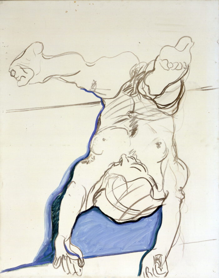 1974 01 10 Akt S. mit Blau Kohle Öl auf Leinwand 100x80 cm