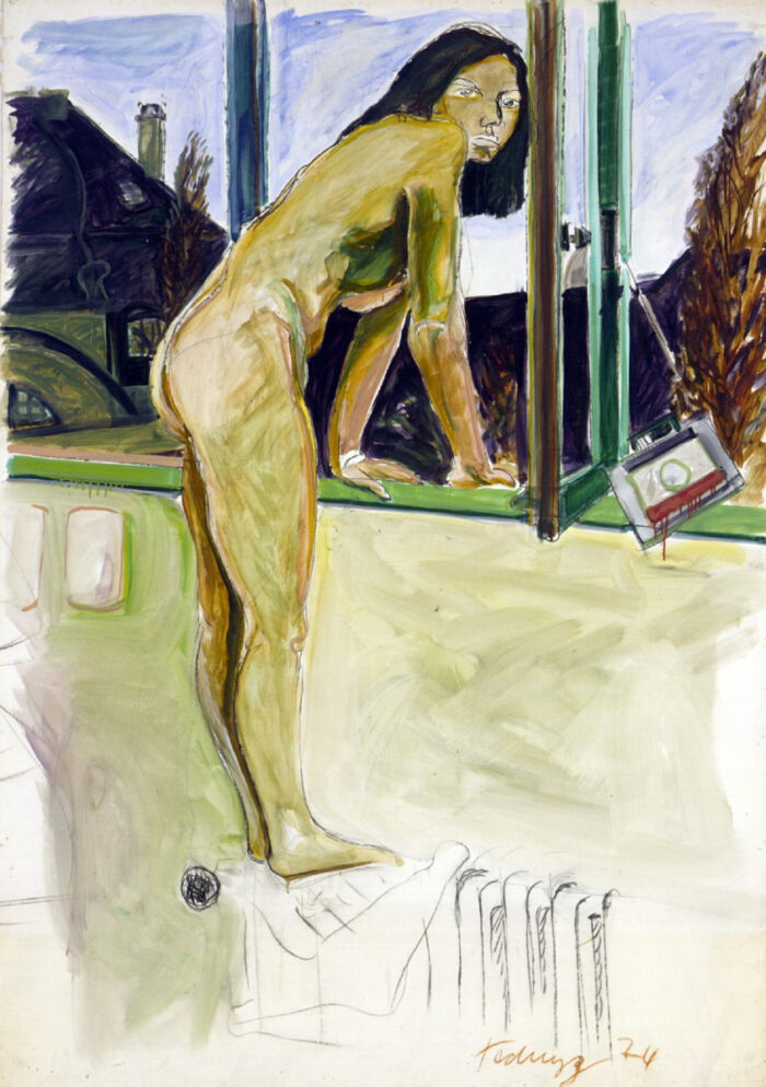 1974 05 06 o.T. Akt Kohle Öl Papier auf Leinwand 171x126 cm