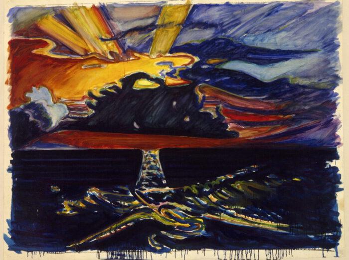 1974 08 03 o.T. Kohle Öl Papier auf Leinwand 139x171 cm
