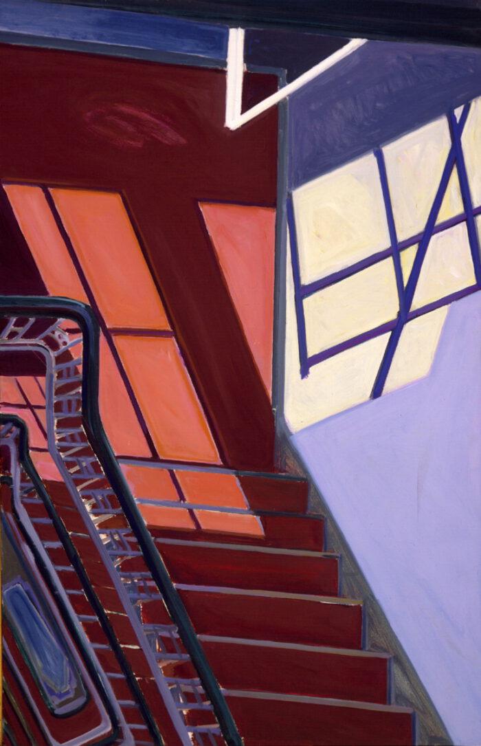 1975 05 01 Treppenhaus Sittarder Str. Öl auf Leinwand 100x65 cm