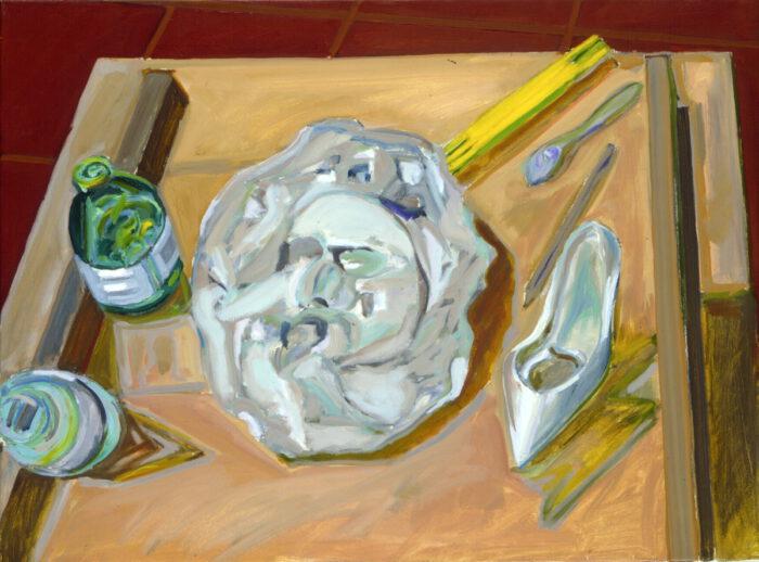 1975 10 01 Weisser Schal Öl auf Leinwand 60x80 cm