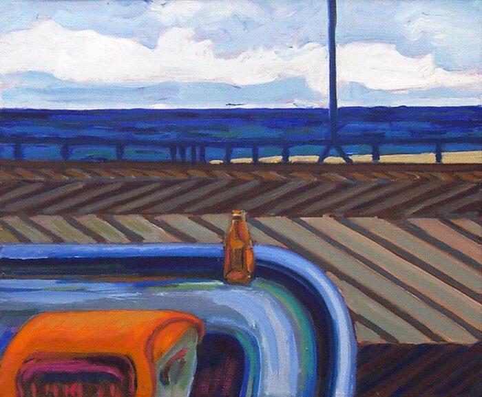 1975 11 01 Flasche und Meer Öl auf Leinwand 505x61 1