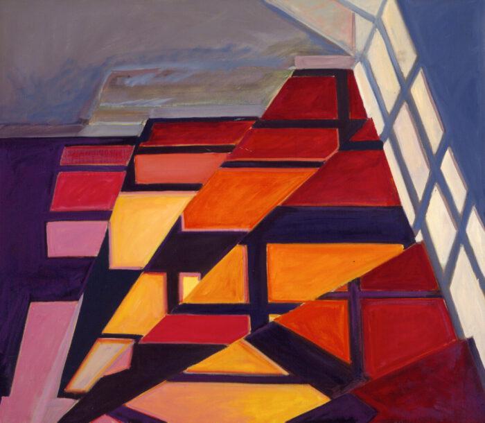 1975 12 01 Fenster Spiegelung Öl auf Leinwand 111x127 cm