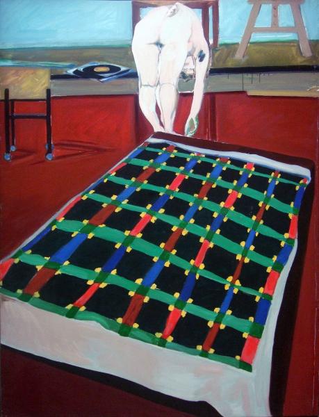 1976 01 02 Akt gebückt Decke Öl auf Leinwand 145x110 1