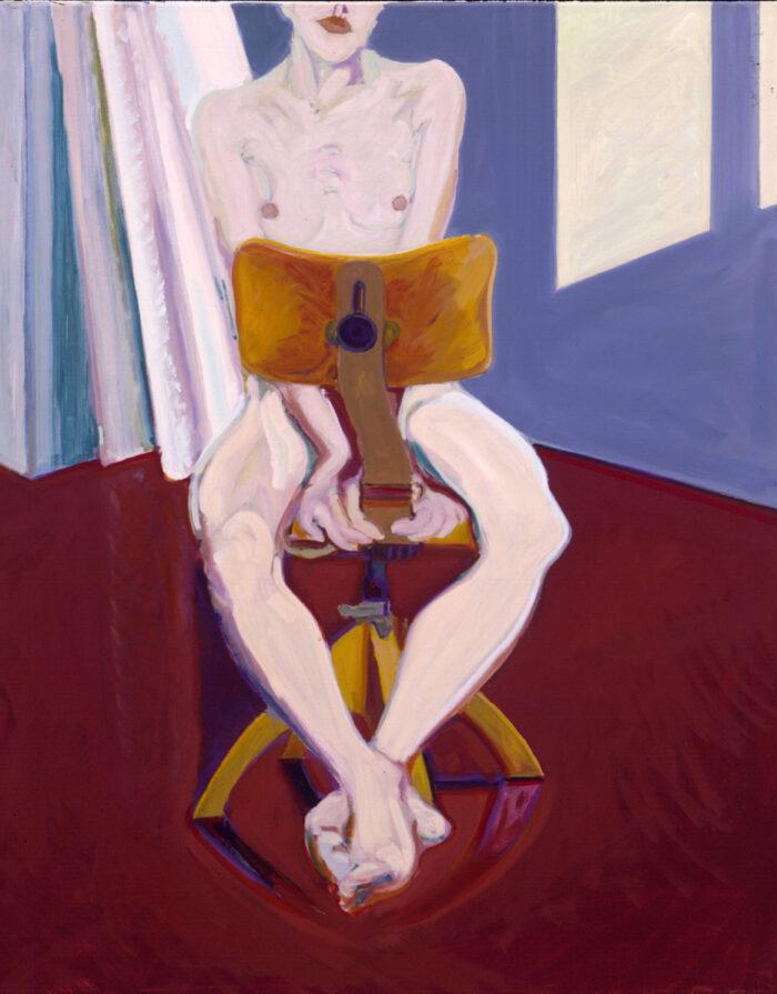 1976 03 03 Akt auf Drehstuhl Öl auf Leinwand 100x80 cm