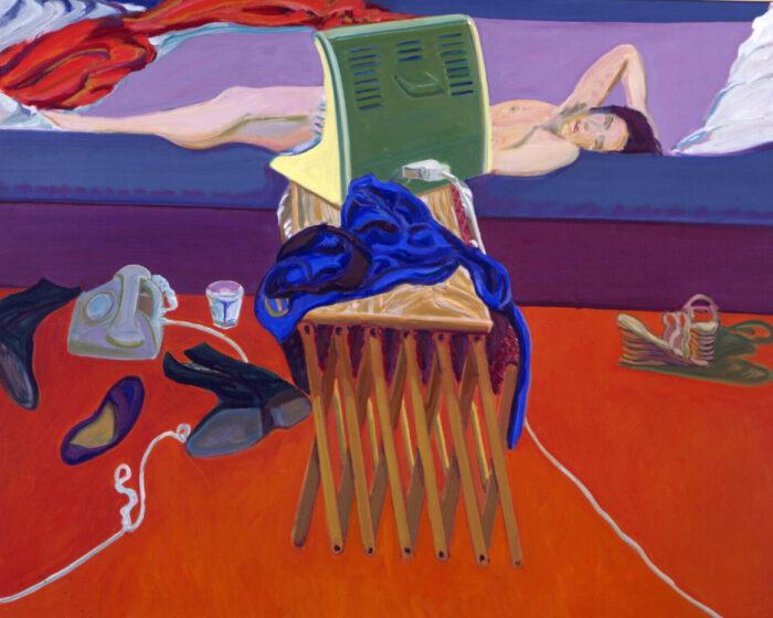 1976 05 02 Klappbett Strahler und Hose Öl auf Leinwand 130x160 cm