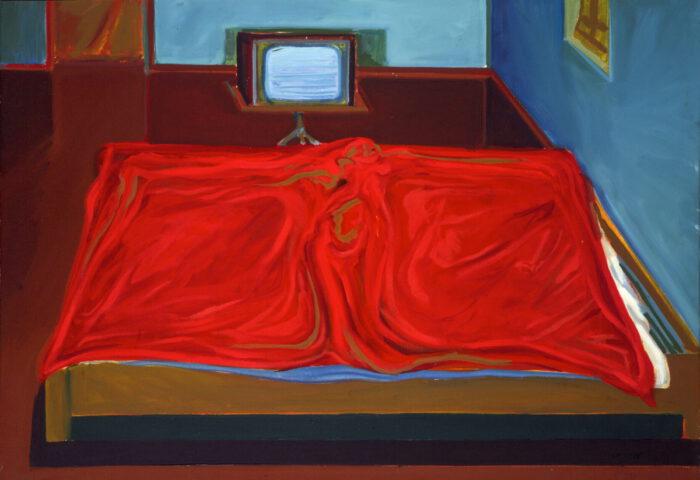 1976 08 01 Rote Decke Öl auf Leinwand 70x100 cm