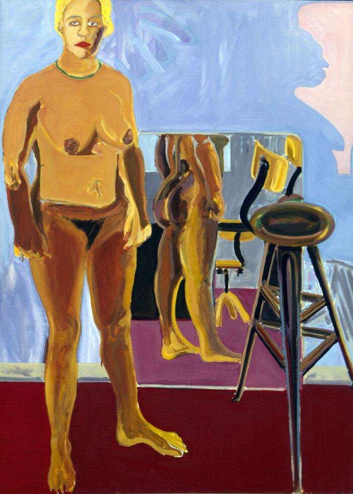 1976 10 01 Stehender Akt Spiegel Öl auf Leinwand 135x100 cm