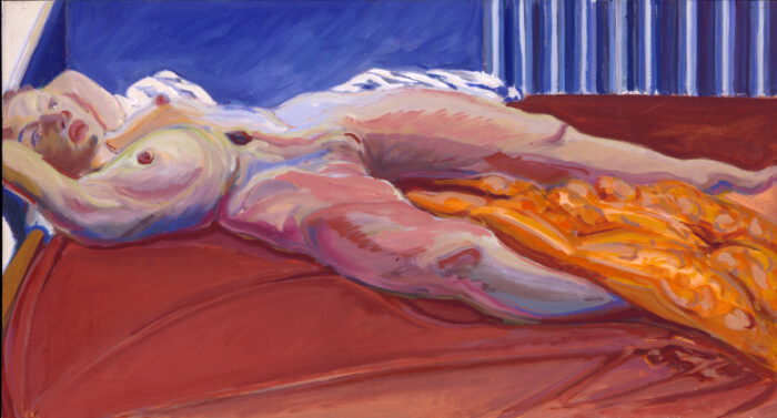 1976 10 02 Akt oranges Tuch Öl auf Leinwand 55x100 cm
