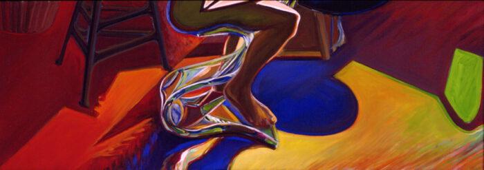 1977 03 06 Beine Plexi Öl auf Leinwand 60x170 cm