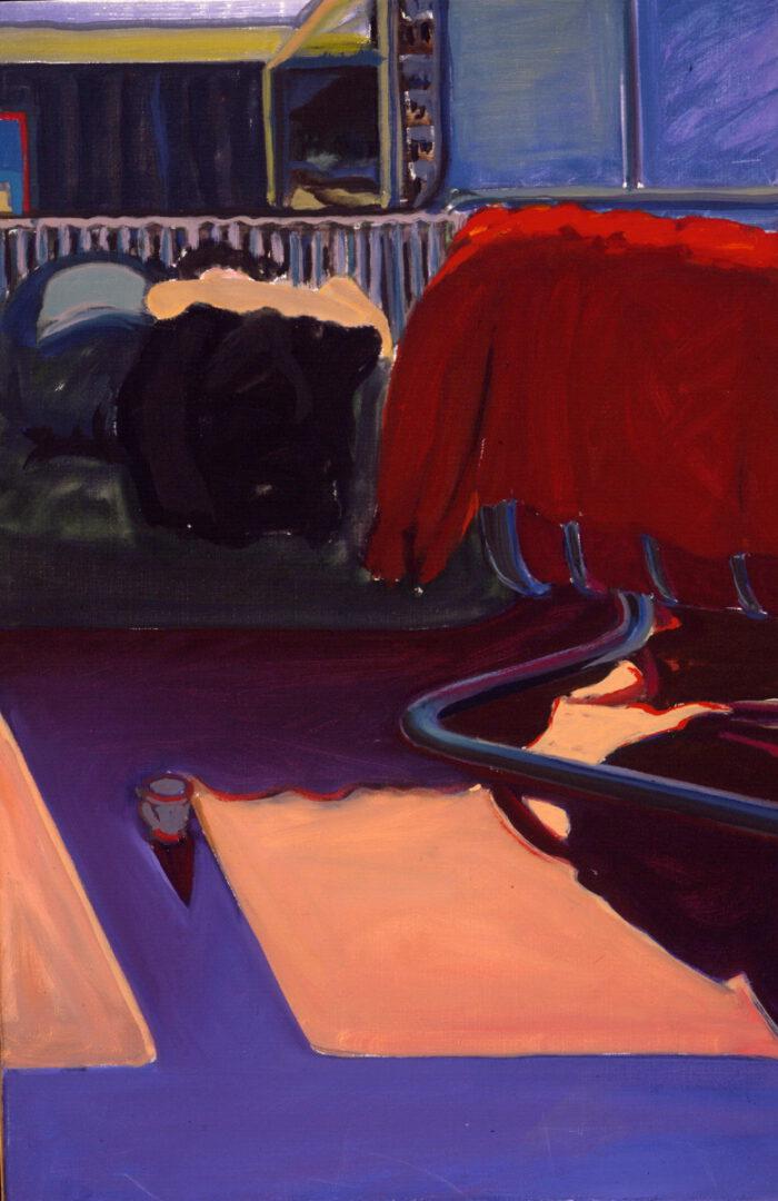 1977 05 10 Atelier Roter Sessel Öl auf Leinwand 75x50 cm