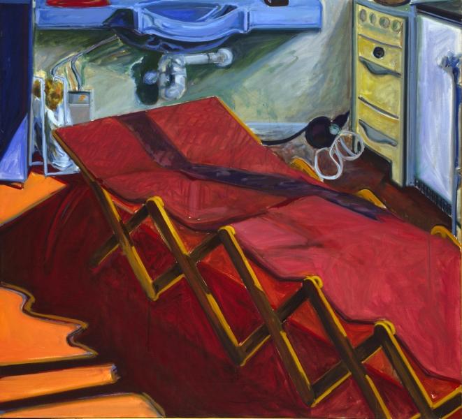 1977 06 01 Rote Holzliege Öl auf Leinwand 120x133 1