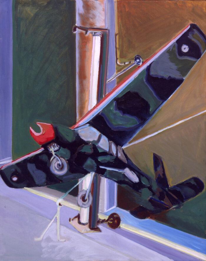 1977 11 01 Spielzeug Flugzeug Öl auf Leinwand 100x80 cm