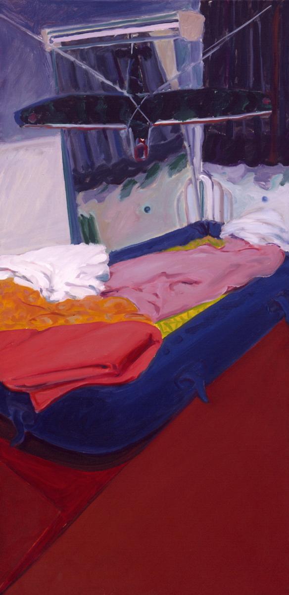 1977 11 02 Flieger über Bett Öl auf Leinwand 100x50 cm