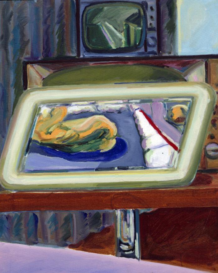 1977 16 02 Akt auf Spiegel Öl auf Leinwand 60x50 cm
