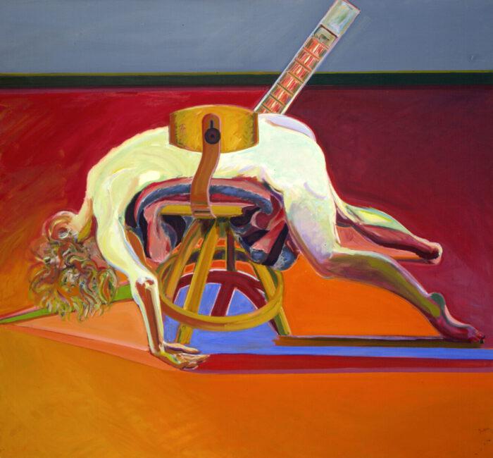 1978 01 01 Weisser Akt über Drehstuhl Öl auf Leinwand 150x160 cm