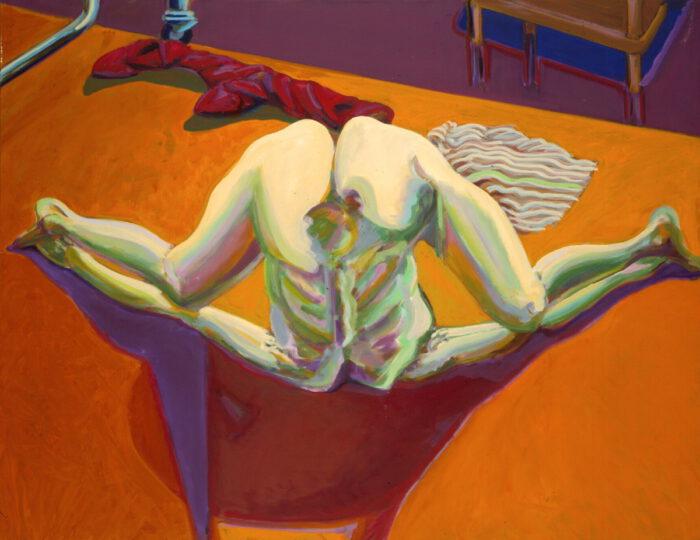 1978 03 04 Kopfüber mit Stiefeln Öl auf Leinwand 105x135 cm