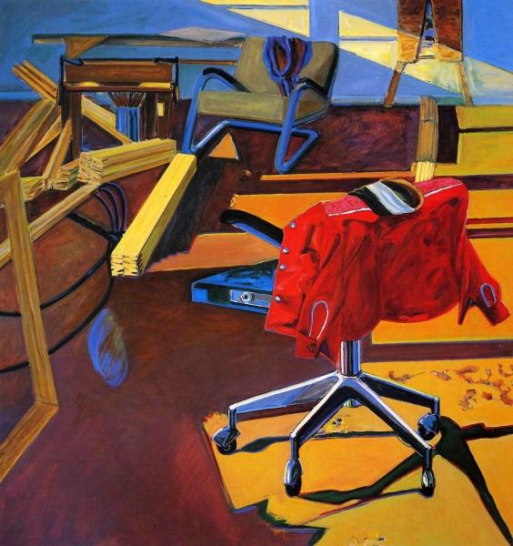 1978 06 01 Rote Jacke Bürostuhl Öl auf Leinwand 170x160 1