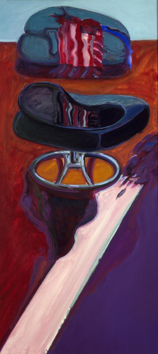 1978 06 02 Kissen und Stuhl Öl auf Leinwand 150x70 cm