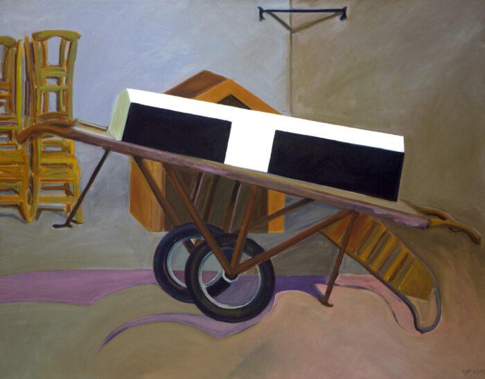 1978 08 01 Katafalk Sargkarre Öl auf Leinwand 135x170 cm