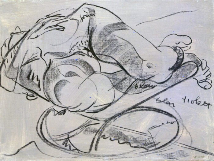 1978 12 01 Akt auf Hocker Kohle auf Leinwand 45x60 cm