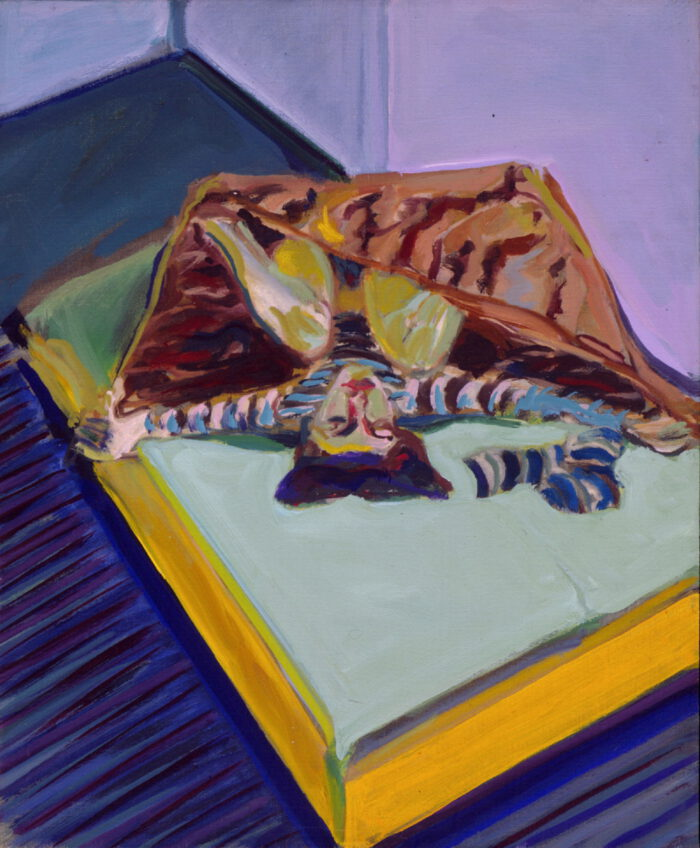1978 13 01 Frau auf Bett Öl auf Leinwand 55x46 cm