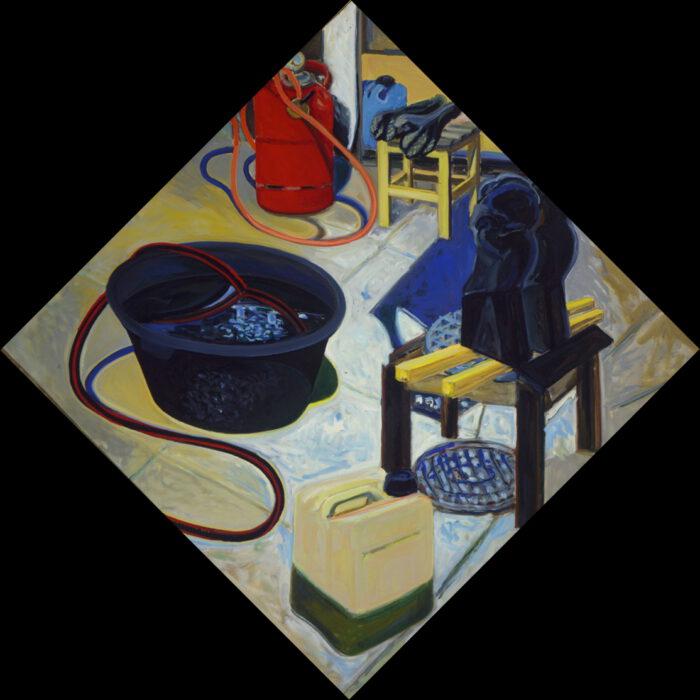 1978 17 01 Skulpturen Atelier Öl auf Leinwand 120x120 cm