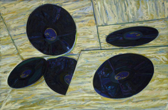 1979 02 01 80.Schallplatten. Öl auf Leinwand 125x190cm