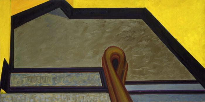 1979 11 02 Treppenabsatz gelb Rheinufer Öl auf Leinwand 101x200 cm