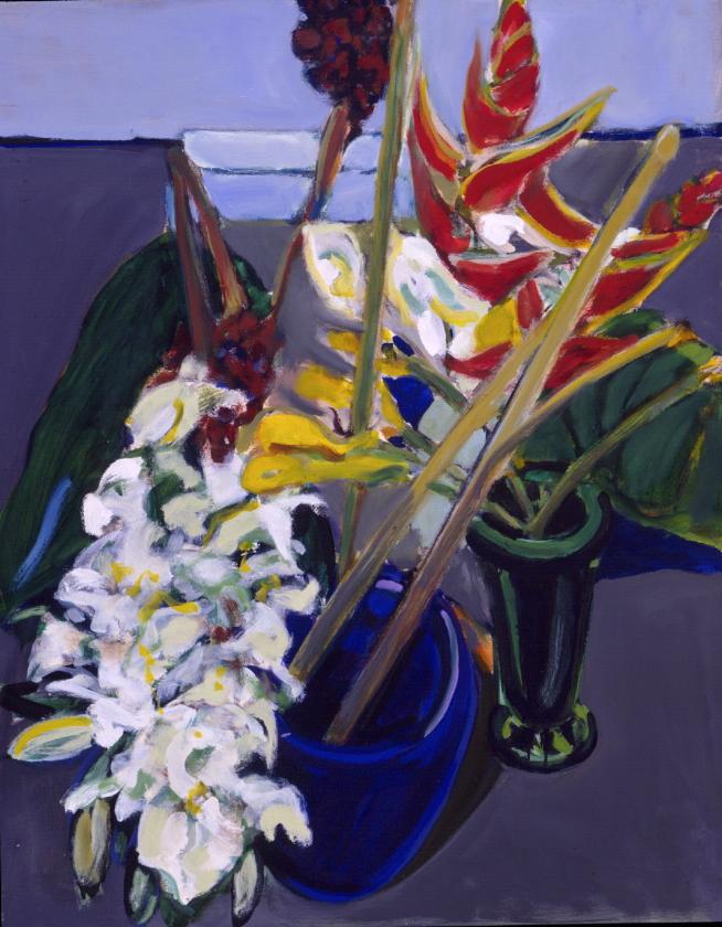1990 01 02 o.T. Blumen Acryl auf Leinwand 100x80 cm