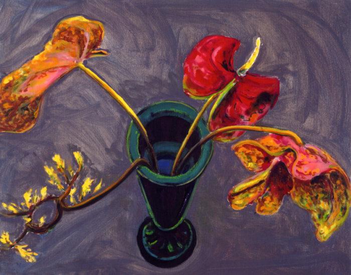1990 01 06 Anthurie Öl auf Leinwand 90x100 cm