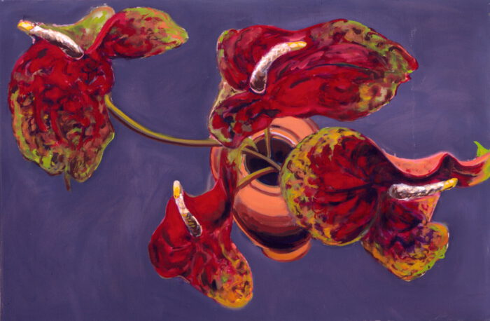 1990 01 08 4 Anthurien Öl auf Leinwand 80x120 cm