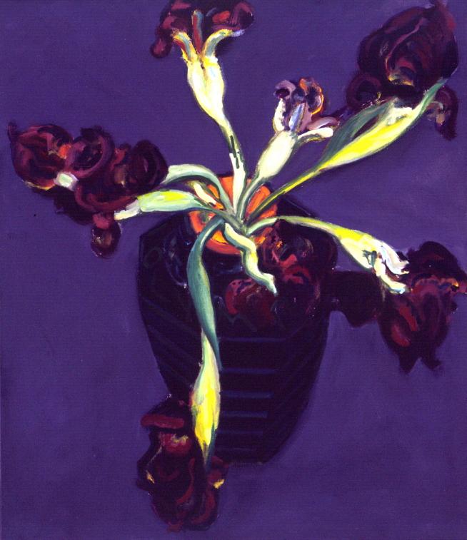1990 01 09 Schwarze Iris Öl auf Leinwand 80x70 cm
