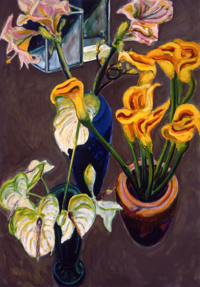 1990 01 11 Amaryllis Calla und Anthurien Öl auf Leinwand 155x110 cm