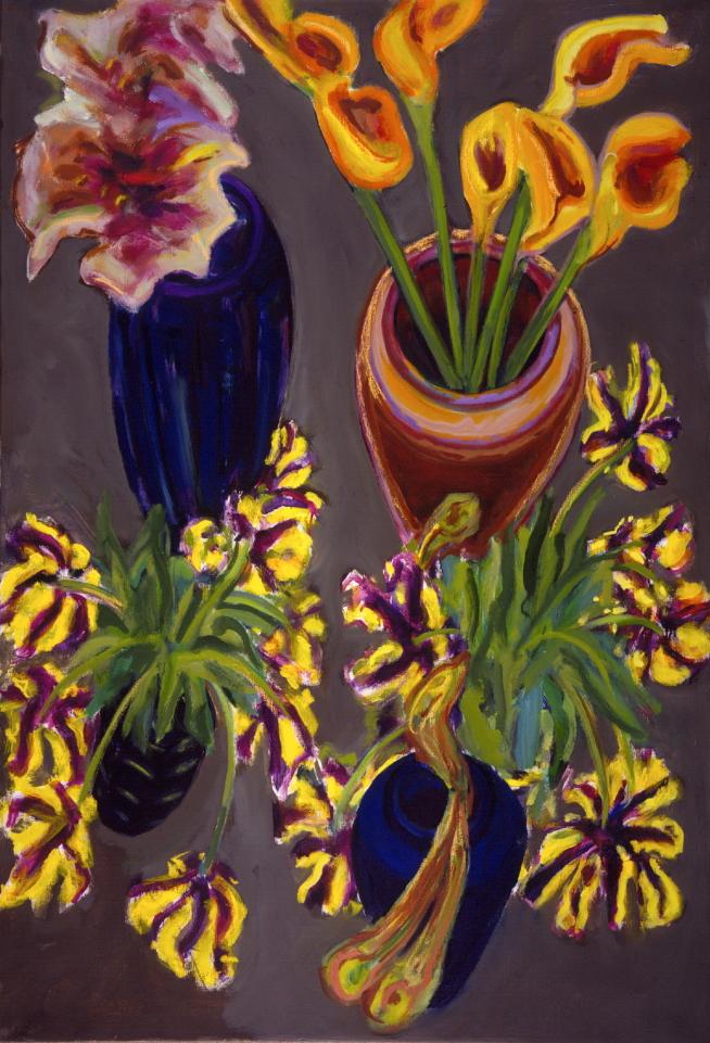 1990 01 12 Calla Amaryllis und Tulpen Öl auf Leinwand 150x100 cm