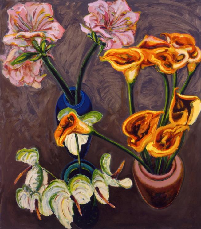1990 01 13 Amaryllis Calla und Anthurien Öl auf Leinwand 170x150 cm