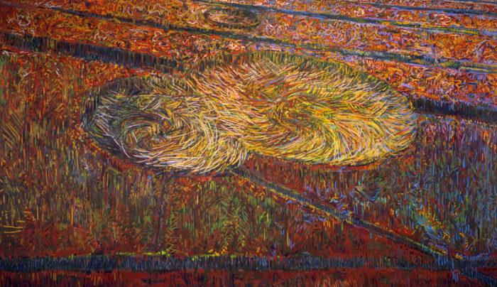 1990 02 03 2 Kreise abends Öl auf Leinwand 300x500 cm